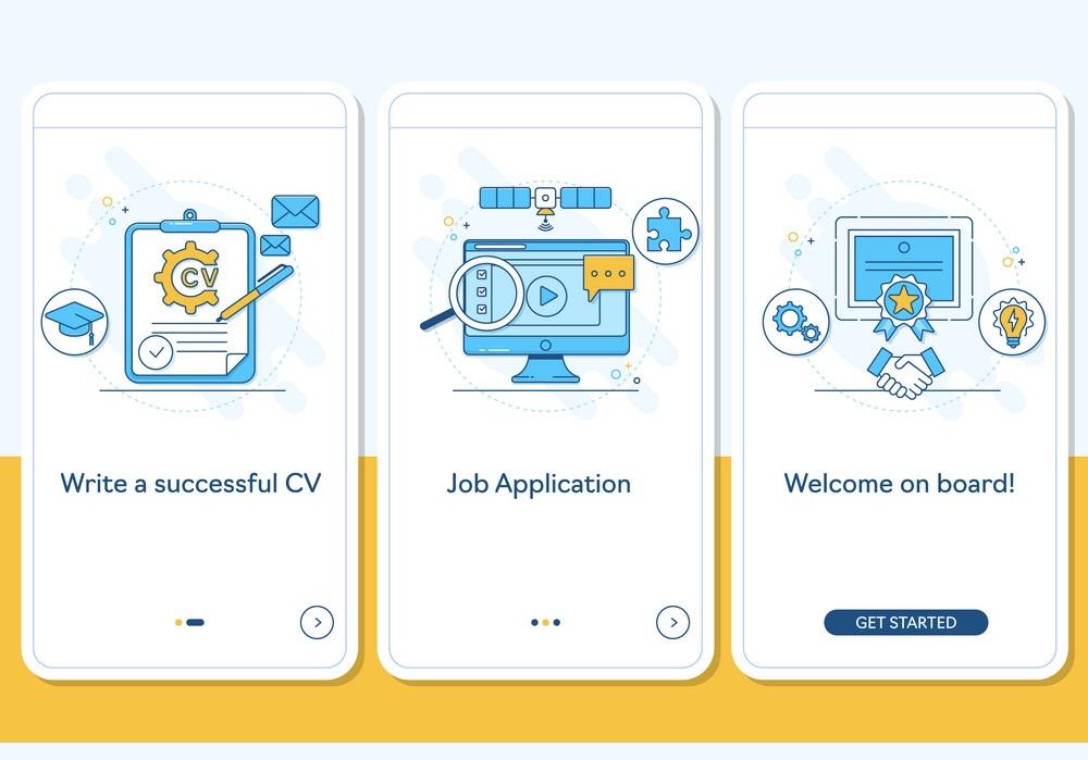 Job searching onboarding mobile app